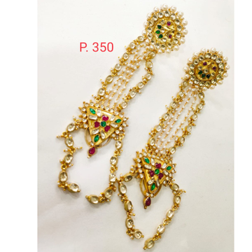 Wedding gold plated kundan & moti with red & green stone hath phool 1410