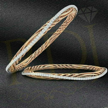 18KT Rose Gold Pink & White Designer Diamond Bangle