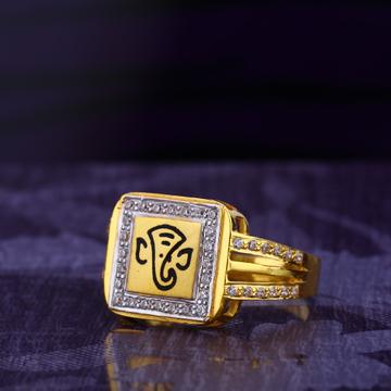 916 CZ Gold Hallmark Stylish Gent's God Ring MGR14...