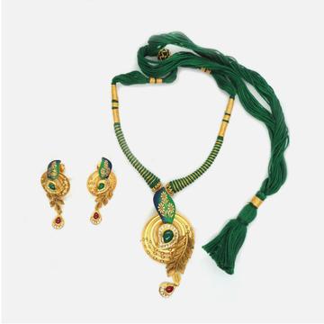 916 Gold Antique Bridal Necklace Set  RHJ-4823