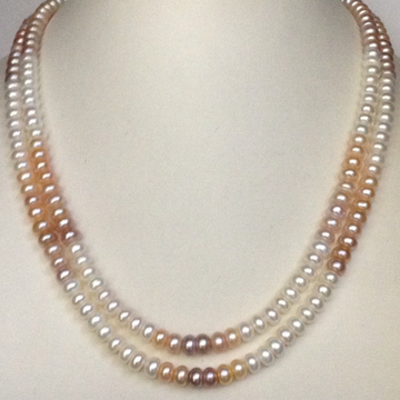 freshwater shaded flat pearls neckalce 2 layers