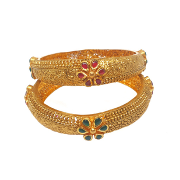 22K Gold Flower Shaped Antique Patla Bangles MGA - GP079