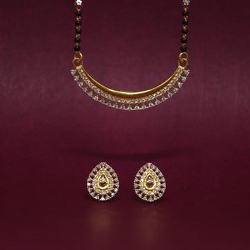 916 Hallmarked Gemstone Mangalsutra Pendant Set by Simandhar Jewellers
