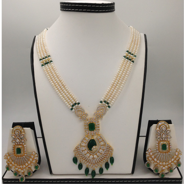 White and green cz rani haar set with 4 lines flat pearls mala jps0458