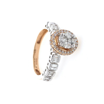 Mooi Diamond ring with pressure Setting using Marquise Princess Baguette and Round Diamonds 0LR40