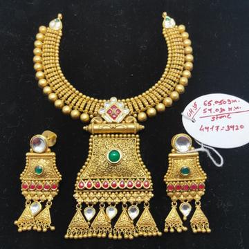 22Kt Gold Traditional Necklace Set For Wedding VJ-N012