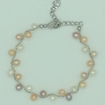 Multi Colour Oval Pearls With White Alloy Chain Br...