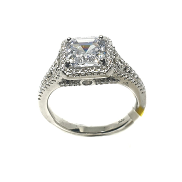 925 Sterling Silver Square Shape Solitaire Diamond Ring MGA - LRS1513