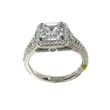 925 Sterling Silver Square Shape Solitaire Diamond...