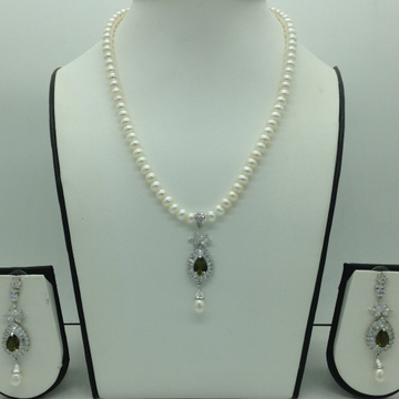 White and Parrot green cz pendent set with flat pe...