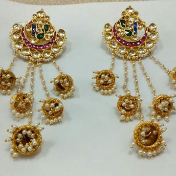Long earrings with chand bali