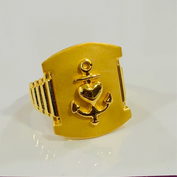 916 Gold Gents Anchor Heavy Ring by