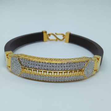 916 HM Gold Leather Bracelet with Diamond MJ-GL-001