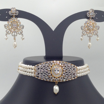 White CZ And Pearls ChokerSet With 3Line FlatPearls Mala JPS0544