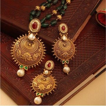 916 hallmarked rajasthani gold antique necklace set from rajkot