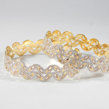 22KT Yellow Gold Swirl Bangles For Women