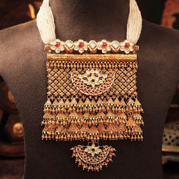 22kt/916 gold antique  bridal necklace set for lad... by