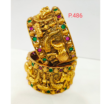 Antique golden elephant and laxmiji design work with green and pink color stone & screw openable polish kada 1204