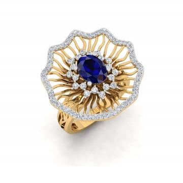750 gold designer blue stone ring pj-r005