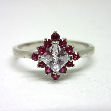 Silver 925 pink diamond white stone classic ring sr925-241