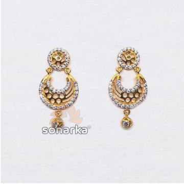 22KT Gold Antique CZ Diamond Beaded Earrings