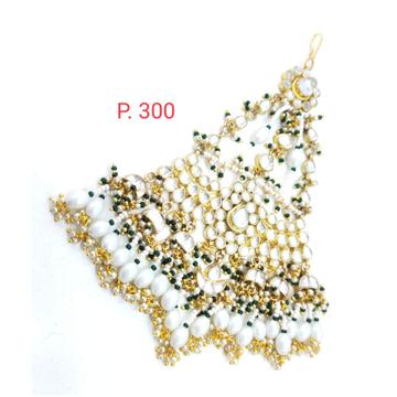 Bridal Gold Plated Kundan Mang Tikka With Hanging Pearl 1634
