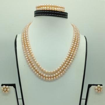 Freshwater OrangeRound 3Lines PearlsFull Set JP...