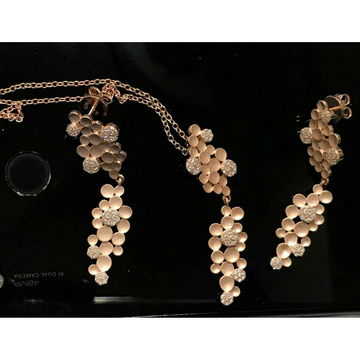 92.5 Sterling Silver Grapes Dezine Rose Gold Chain With Pendant Set Ms-3105