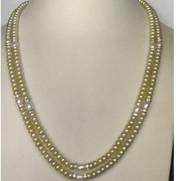 Freshwater Lemon Yellow Flat Pearls Necklace 2 Layers with CZ Chakri
