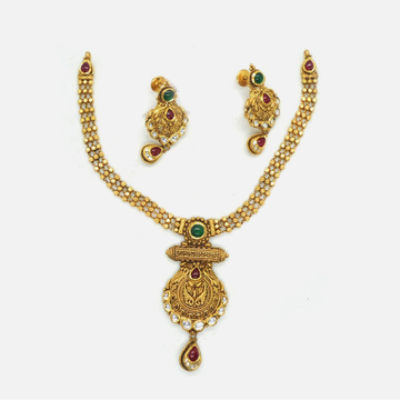 916 Gold Antique Bridal Necklace Set RHJ-4681