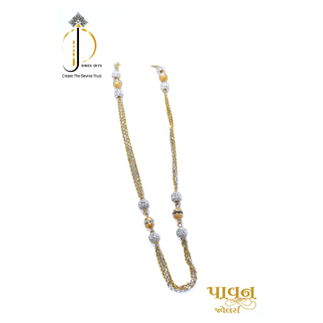22kt / 916 gold 3 line Delicate chain with Rhodium bolls for Ladies CHG0030