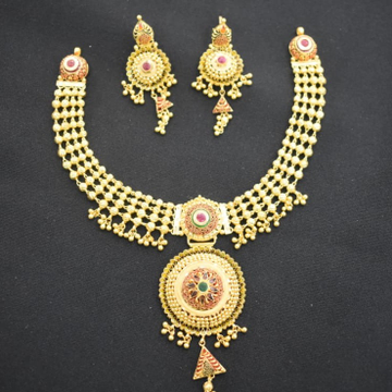 916 Gold Traditional Design Necklace Set MK-N01 by