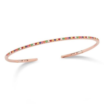Delicate 18kt rose gold and multi coloured diamond bracelet for women jkb0010