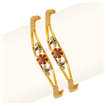 916 Gold Flower Design Vakiya Copper Kadli RJV-437