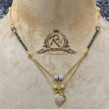 22 carat gold antic heard shape laides mangalsutra RH-MS426