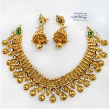 22KT Gold Antique Bridal Necklace Set RHJ-0001