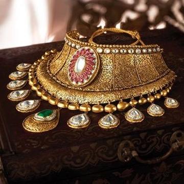 Aad Kundan Chokar Set 916 Bridal Set Rajputi Gold  by