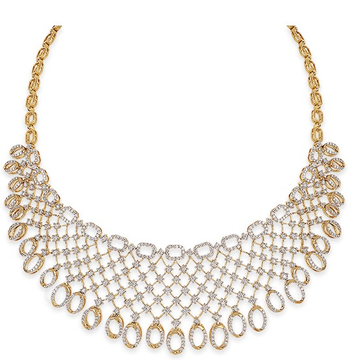 22kt gold and diamond studded loop design necklace jkn006