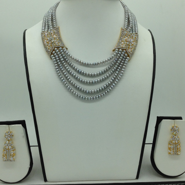 White CZ Choker Set With Grey Pearls Mala JPS0628