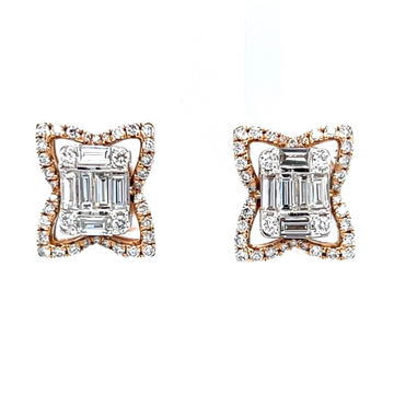Emerald cut pressure set with butterfly wings diam...