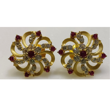 22kt gold cz casting round shape fancy earrings