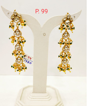 Gold Tone Kundan Design long Earring with Hanging Moti 1706