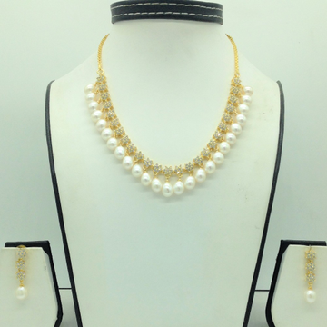 White CZ Stones And Freshwater Tear Drop Pearls Ne...
