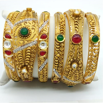 916 Gold Attractive Studded Kada