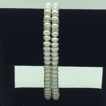 White Flat Pearls And CZ Chakri 2 Layers Bracelet JBG0105