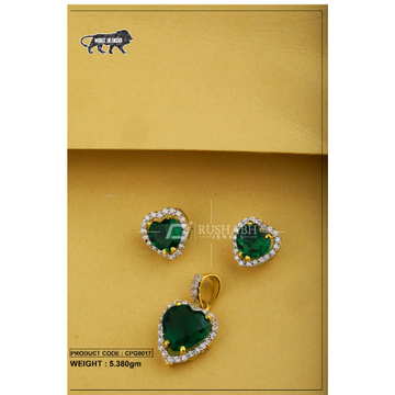 22 carat 916 gold ladies colour stone pendent set green cpg0017