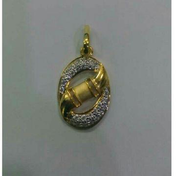 916 / 22K Gold CZ Stylish Modern Pendant by