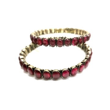925 Silver Antique Pink Stone Bangle