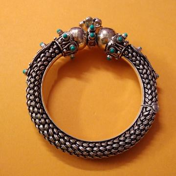 Hallmark silver mesh filigree Gokhru hand cuff kad...