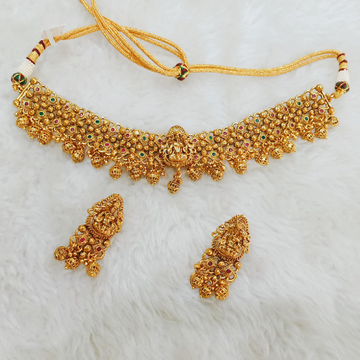 1 gram gold plated traditional antique polish necklace set 1063